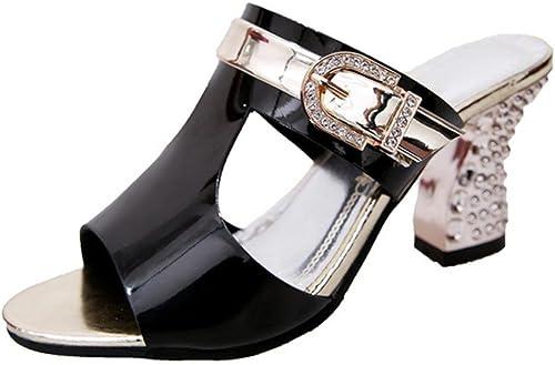 Été creux chaussures à talons hauts avec des femmes boucle de ceinture de diamant épais sandales sandales femmes bouche de poisson et des chaussons , noir , US7.5   EU38   UK5.5   CN38