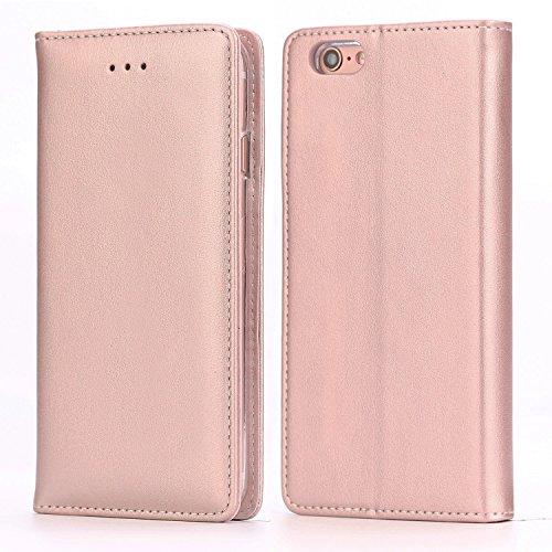 Funda iPhone 6 Plus / 6S Plus, IPHOX Cuero Fundas iPhone [Ranuras para Tarjetas][Cierre Magnético] [Soporte Plegable] [Ultra-Delgado]TPU Parachoques Cover Para Apple iPhone 6SP / 6P(Rose Gold)