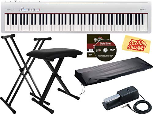 Roland FP-30 Digital Piano - Black Bundle with Roland DP-10 Damper Pedal, Adjustable Stand, Bench, Dust Cover, Austin Bazaar Instructional DVD,...