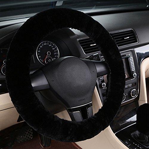 Dicke Lenkradhülle Auto Plüsch kurz warme Lenkradabdeckung Winter Universal Lenkradbezug rutschfest atmungsaktiv Lenkrad Abdeckung anti-Rutsch Lenkradschutz weich bequem steering wheel cover