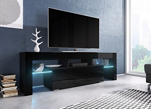 Jadella TV Board \'Soro\' Hochglanz Lowboard Cube Matt HiFi Fernseherschrank mit LED, Farbe:schwarz matt/schwarz Hochglanz