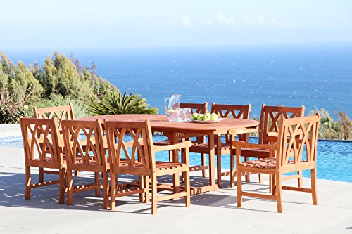 Vifah Malibu 9-Piece Outdoor Hardwood Dining Set with Oval Extension Table and 8 Arm Chairs