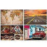 GREAT ART® Juego de 4 Motivos de Carteles   DIN A2-42 x 59,4   en Las Pistas   Retro Mapa del Mundo Globo Ruta 66 café Collage Habana Oldtimer   Cuadros para niños decoración póster
