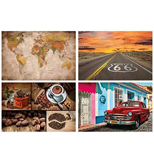 GREAT ART® juego de 4 motivos de carteles | Din A2 - 42 x 59,4 | en las pistas | retro mapa del mundo globo ruta 66 café collage Habana Oldtimer | Cuadros para niños decoración póster
