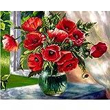 Alféizar de la Ventana RAD Flor DIY Pintura Digital Lienzo de Arte decoración del hogar 40X50 cm sin Marco