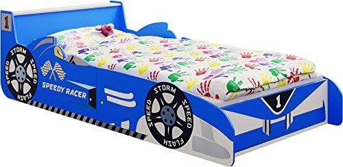 IB-Style - Lit Voiture Speedy Racer Junior pour Enfant - Formula 1 Bleu 140 x 70 cm avec Aile Arrière comme Une Table de Chevet et Lattes de sommier Inclus - Chambre d'enfant