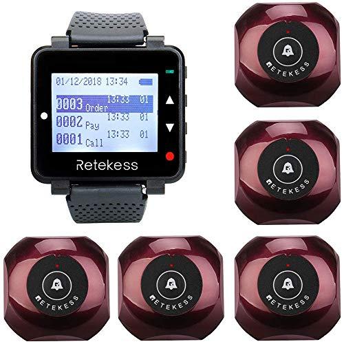 Retekess T128-TD013 Kellner-oproepsysteem knop draadloos pagersysteem 433 MHz wrijvingsloze bescherming tegen slijtage in hotelrestaurant tafel buiten de privékamer (T128 kelnerklok met 4 klantentoetsen), zwart-rood
