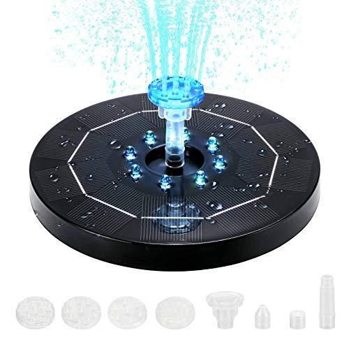 Viitech Solarbetriebener Brunnen mit LED-Lichtern, Solar Springbrunnen Pumpe für Vogeltränke, Wasserbrunnen Outdoor, Gartenbrunnen, 3W 6 Düsen