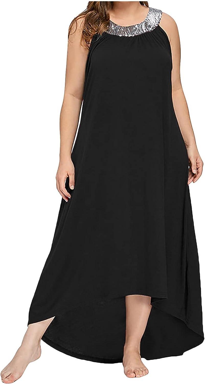 TARIENDY Plus Size Maxi Dresses for Women Sequins Elegant Sleeveless Dress Solid Color Party Tank Sundress