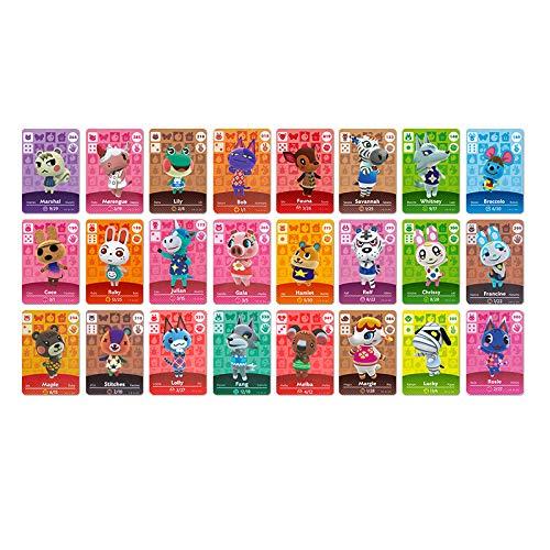 NFC-Mini-Cards für Animal Crossing: New Horizons Amiibo , Seltene Dorfbewohner 24 pcs mit Kartenhalter für Switch / Schalter Lite / Wii U
