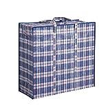 St.Zoe Große wasserdichte dreifarbige gewebte Tasche für Gepäck, Aufbewahrungstasche, Umzugstasche, Wäschesack – 2er-Pack (blau, 55 x 65 x 30 cm)