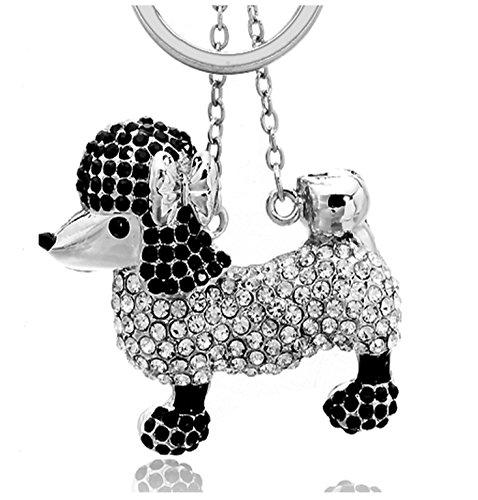 Adorno colgante Quadiva para bolso, diseño de perro caniche, con pedrería, color plateado y negro