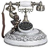 Telefono Vecchio Stile Classico, Composizione di Pulsanti in Resina Retro Decorazione Domestica Fissa del Telefono Fisso