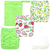 Langsprit Baby Cloth Diaper with Highly Absorbent Bamboo Inserts & Wet Bag,Reusable Unisex Baby Diapers (Plant)