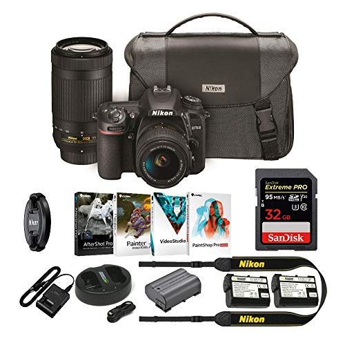 Nikon D7500 DSLR Camera with 18-55mm and 70-300 VR Lenses Kit with 32GB Pro Card and Battery Bundle