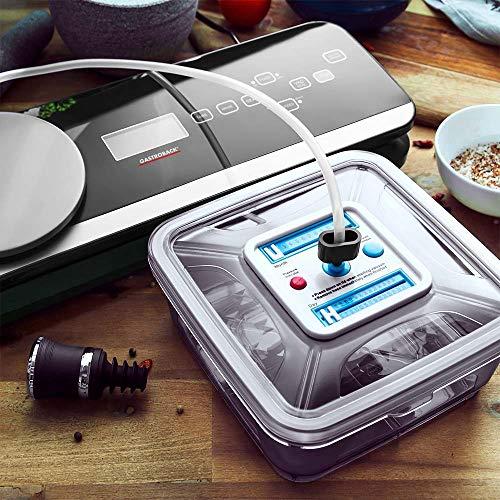 Gastroback 46014 Design Vakuumierer Advanced Scale Pro, Sensor-Touch Bedienung Integrierte Präzisionswaage mit Tara-Funktion 8 Liter/Min. Vakuumierleistung (0,6 bar), 120 Watt, schwarz