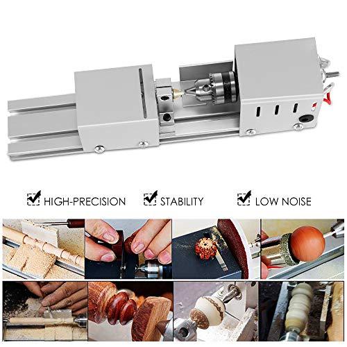 4YANG Mini tornio Tornio per utensili fai-da-te in legno 8000R-80w Lavorazione del legno da tavolo CNC lavorazione Strumento rotante per artigianato del legno fai da te con alimentatore