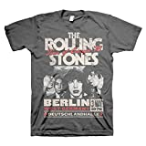 Rolling Stones Berlin Tour of Europe '76 Adult T-Shirt (Small) Charcoal