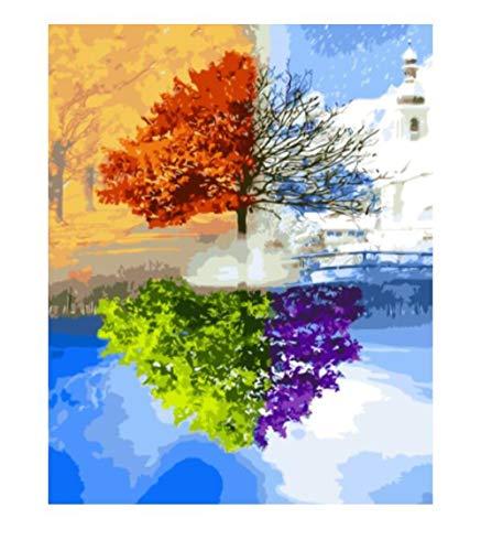 Malen-nach-Zahlen-Set, Leinwand mit Pinsel, Farben für Erwachsene, Kinder, Senioren, Junior, Basteln, Anfänger, Acryl, Mal-Set auf Leinwand – Vier Jahreszeiten Baum 40 x 50 cm – ohne Rahmen