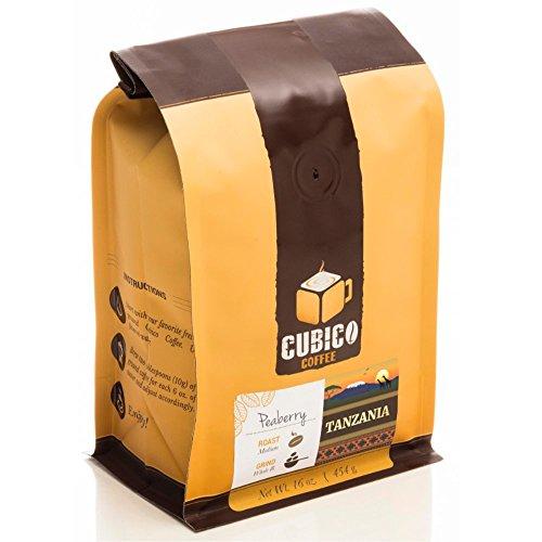 Tanzania Peaberry Coffee - Ground Coffee - Freshly Roasted Coffee - Cubico Coffee - 16 Ounce (Single Origin Peaberry Tanzanian Coffee)