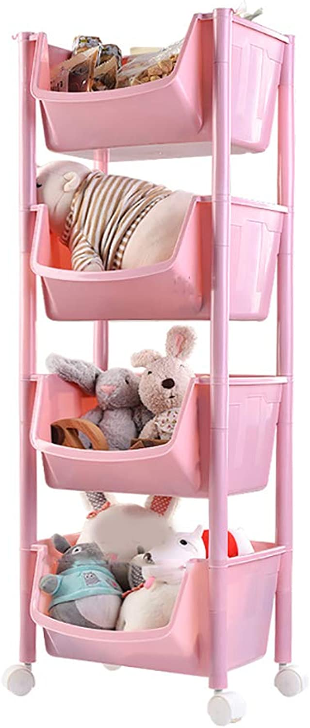 3 4 Tier Kitchen Storage Trolley with Wheels Plastic Fruit Vegetable Rack for Bathroom Multifunction Organizing Pink (Size   35.5  29.5  100cm)