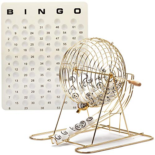 Professional Bingo Game Set. Including Extra Large Brass Bingo Cage, 1.5-Inch Ping Pong Style Bingo Balls, Plastic Masterboard (Metal Base Cage Set)
