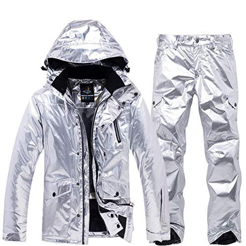 YEEFINE Men and Women's Ski Jacket and Pants Set Waterproof Mountain Snowboard Jacket Snow Suits Rain Coat Windbraker Outwear (Silver+Silver, X-Large)