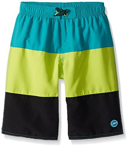 Speedo Boys Blocked Volley - Bañador Corto para niño, Verde Marino, XXS