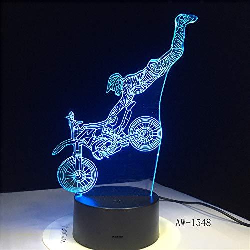 Dirt Bike Shape Motocross Motocicleta Night Light 3D LED USB Lámpara de mesa niños regalo de cumpleaños decoración de la habitación junto a la cama