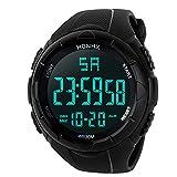 Herren Digitale Armbanduhr, Outdoor Laufen 5 Bar wasserdichte militärische Uhren, Cool Sport große Anzeige LED Sportuhr mit Wecker für Herren (Schwarz)