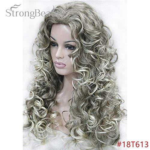 JPDP Strong Beauty Blonde Light Gold Brown Blonde Long Curly Synthetic Full Wigs pour les femmes Beaucoup de couleurs pour choisir 26 pouces Silver Grey