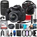 Canon EOS 2000D (Rebel T7) DSLR Camera with 18-55mm & 75-300mm Lens Bundle + Premium Accessory Bundle Including 64GB Memory, Filters, Photo/Video Software Package, Shoulder Bag & More