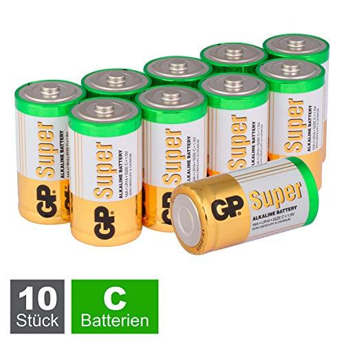 GP Batterien C (Typ: Baby / LR14), Super Alkaline 1,5V, 10 Stück Babyzellen im Vorratspack (5X 2er Pack)