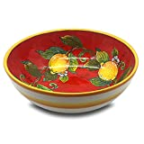 Large Ceramic Bowl for kitchen - Italian dinnerware pasta bowl - Yellow White Red Lemon serving tray - Hand painted Tuscan pottery bowls - Made in Italy plates - Ceramics salad tuscan soul platter
