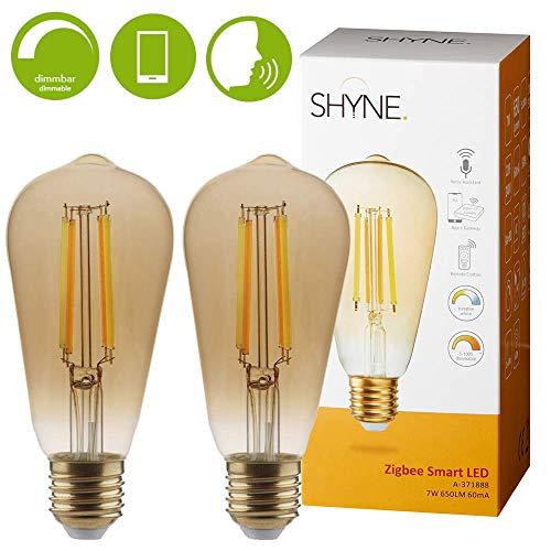 Shyne Smart Filament LED Lampe, 58 mm, E27, 7W, 2er Pack | Steuerung per Fernbedienung oder App auf Ihrem Smartphone, Tablet | warmweiß oder kaltweißes Licht im Wohnzimmer, Schlafzimmer oder Esszimmer