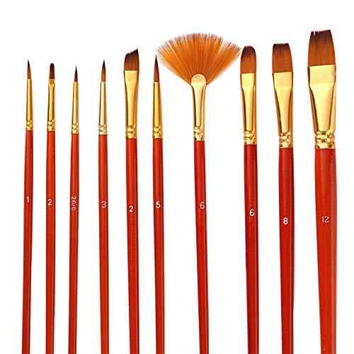 Ajcoflt Kit de 10 peças de pincéis de pintura, pincel de artista, pincéis médios, com cabelo de nylon para artista, acrílico, aquarela, guache, pintura a óleo para ótimos materiais de desenho artístico