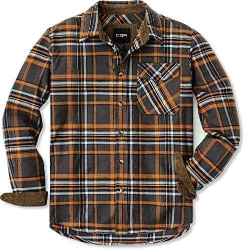 CQR DRST Men's All Cotton Flannel Shirt, Long Sleeve Casual Button Up Plaid Shirt, Brushed Soft Outdoor Shirts, Unique(hof110) - Dakota Grey, Large