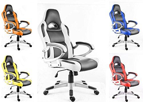 Polironeshop - Monza - Silla para Gaming Racing, con diferentes ajustes, color blanco / negro
