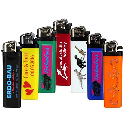 Druckspezialist 25 Feuerzeuge Reibrad beidseitig mit Fotodruck 4-farbig von Ihrer Datei Logo Werbung 10-2000 Stück
