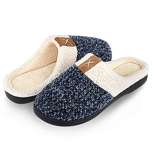 Winter Hausschuhe Damen Herren Wärme Plüsch Bequem Pantoffeln Memory Foam rutschfeste Home Leichte Slippers für Drinnen und Draußen(Blau.SZ,40/41 EU)