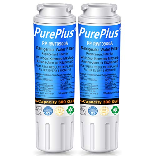 PUREPLUS UKF8001 Refrigerator Water Filter, Replacement for Maytag UKF8001P, EDR4RXD1, Filter 4, PUR 4396395, Puriclean II, UKF8001AXX-200, UKF8001AXX-750, 469006, RWF0900A, RFC 0900A (Pack of 2)