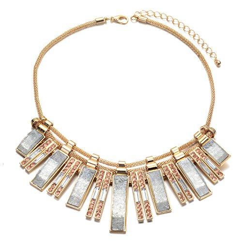 FSMILING Light Blue Crystal Bib Statement Necklace Rhinestone Gold Chunky Necklaces Costume Jewelry for Women Crystal Bib Statement Necklace