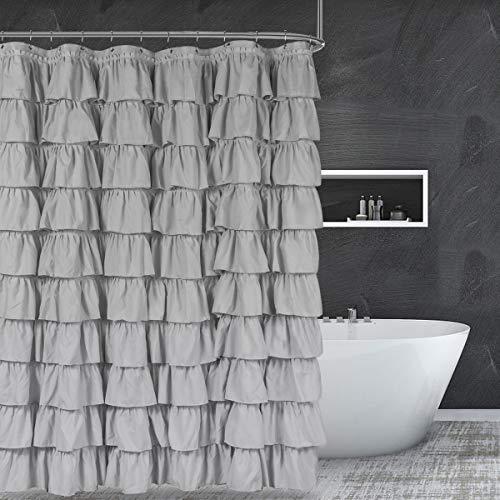 "ASHLEYRIVER Grey Ruffle Shower Curtain Great for Showers & Bathtubs-Grey,72"" x 72"""
