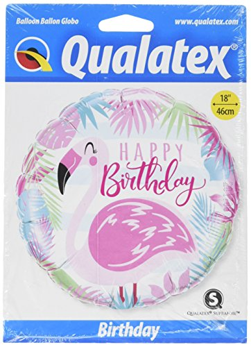 Ballon d'anniversaire rond motif flamand rose, «Happy Birthday» Qualatex 57274, 45,7 cm.