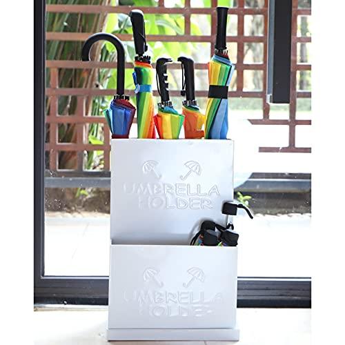 paragüero Moderno Hierro Forjado Metal Paraguas Stand Rack, Soporte De Paraguas Anti-óxido Blanco para El Centro Comercial De Entrada, con Bandeja De Drenaje De Alta Capacidad