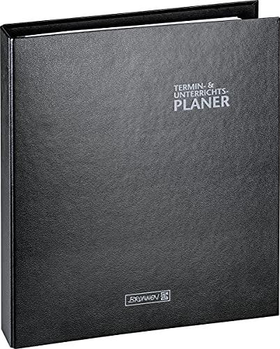 BRUNNEN 1075765902 Ringbuch-Kalender mit Einlage (Lehrerkalender/Termin- & Unterrichtsplaner) 2021/2022, 2 Seiten = 1 Woche, Überformat A4: ca. 28 x 31,5 cm, Baladek-Einband schwarz