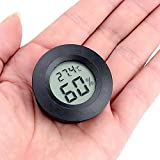 Negro Mini Redondo Termometro Higrometro Digital Interior Exterior,LCD Probador Termómetro Casa,Es Adecuado para Refrigeradores, Cuartos Infantiles, Hogares, Oficinas,Jardines