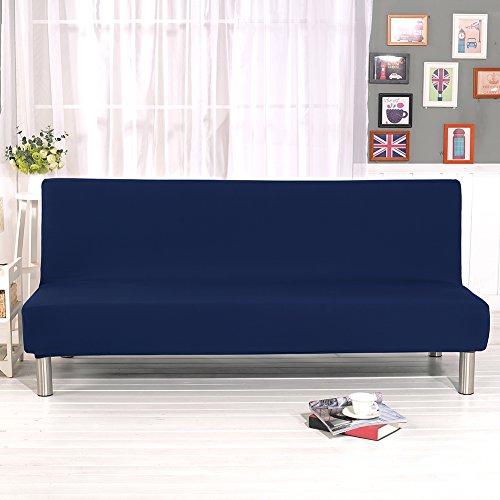 Bankovertrek, elastisch, zonder greep, sofaovertrek, gewatteerd, voor woonkamer, deken met bloemenopdruk (marineblauw)