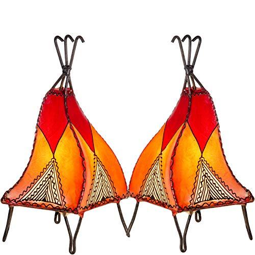 2er SET Orientalische Tischlampe Emel 37cm Lederlampe Hennalampe Lampe | Marokkanische kleine Nachttischlampe aus Metall Lampenschirm aus Leder | Zwei Tischlampen Farbe Orange Beige und Rot