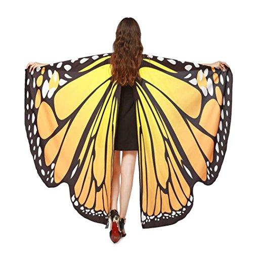 TUDUZ Schmetterling Kostüm Frauen, Damen Kostüm Verkleidung für Karneval Fasching Party (Orange, 168 * 135CM)